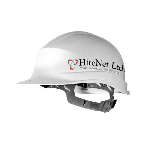 Hirenet white hard hat.